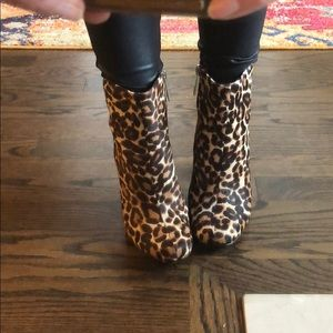 CHARLES DAVID Leopard Calf Hair Ankle Booties